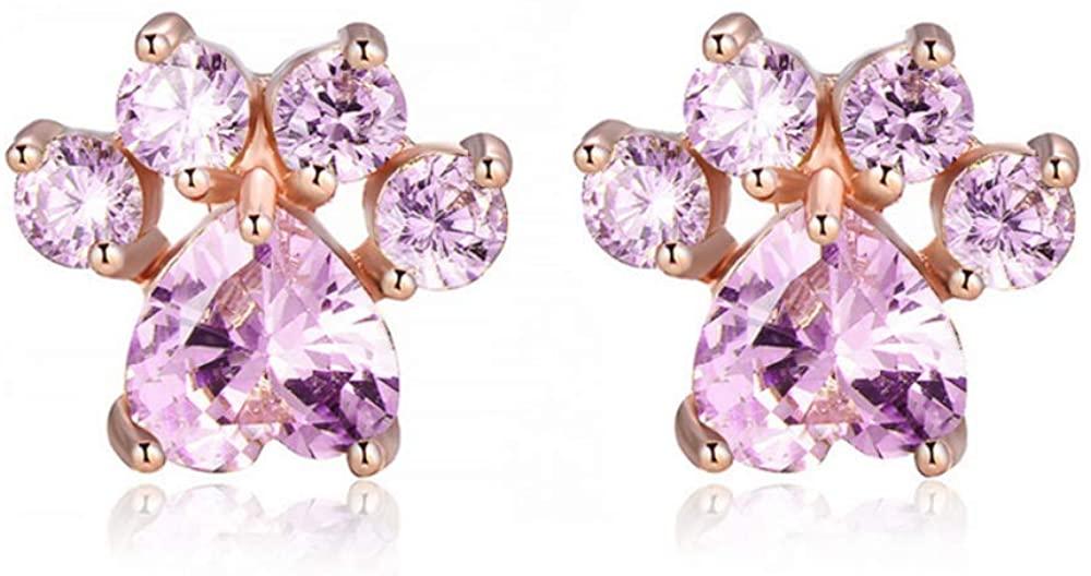 Earring Cute Cat Claw Shape Earrings For Women Colorful Crystal Rhinestone Inlay Push-Back Stud Earrings Girl Ear Wear