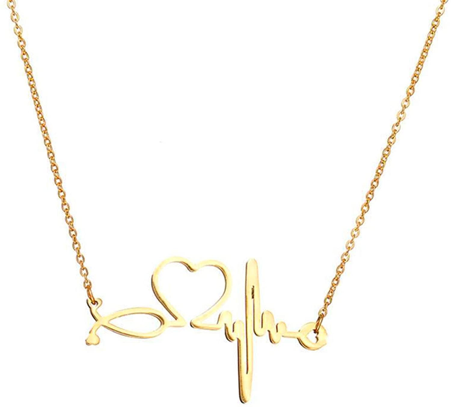 SXNK7 Stainless Steel Nurse Doctor Medical Stethoscope Chain Bijoux Collier EKG Heartbeat Love You Necklaces