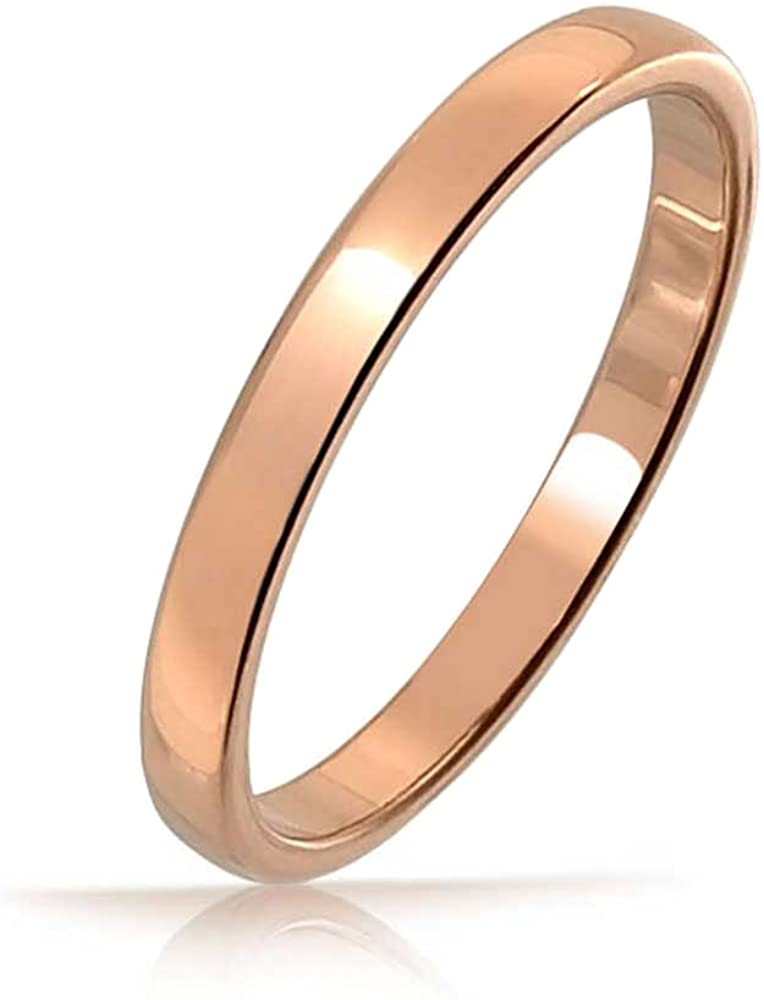 Bling Jewelry Thin Minimalist Dome Couples Titanium Wedding Band Polished Rose Gold Silver Plated Ring for Men Women Comfort Fit 2MM