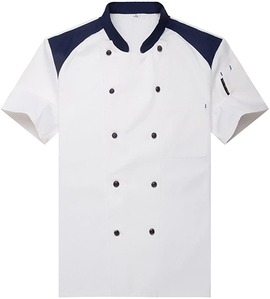 Fashion Chef Jackets Waiter Coat Short Sleeves Size US: XXL White(Label:4XL)