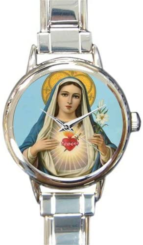 Catholic Christian Religious Church Gifts Virgin Mary Mother Of Lord Round Italian Charm Watch
