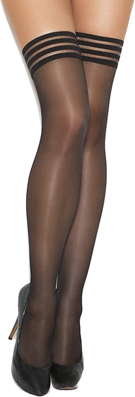 Zabeanco Womens Sheer Thigh High with Striped Elastic Top