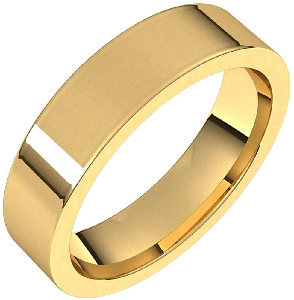 Solid 18K Yellow Gold 5mm Flat Comfort Fit Wedding Band Size 11.5