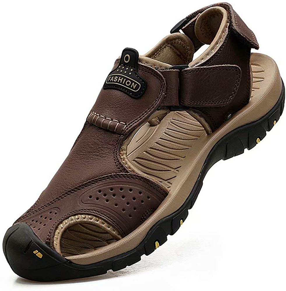 VISIONREAST Mens Leather Sandals Closed Toe Outdoor Hiking Athletic Sport Shoes Waterproof Beach Sandals