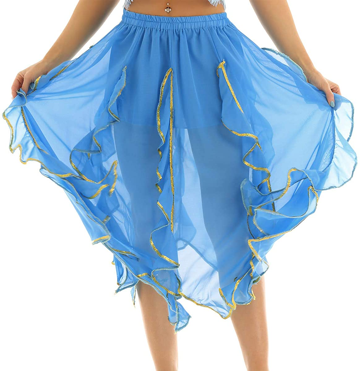 iEFiEL Women Chiffon Fairy Fancy Skirt Belly Dance Skirt with Gold Sequin Side Split Performance Costume Dance Skirt