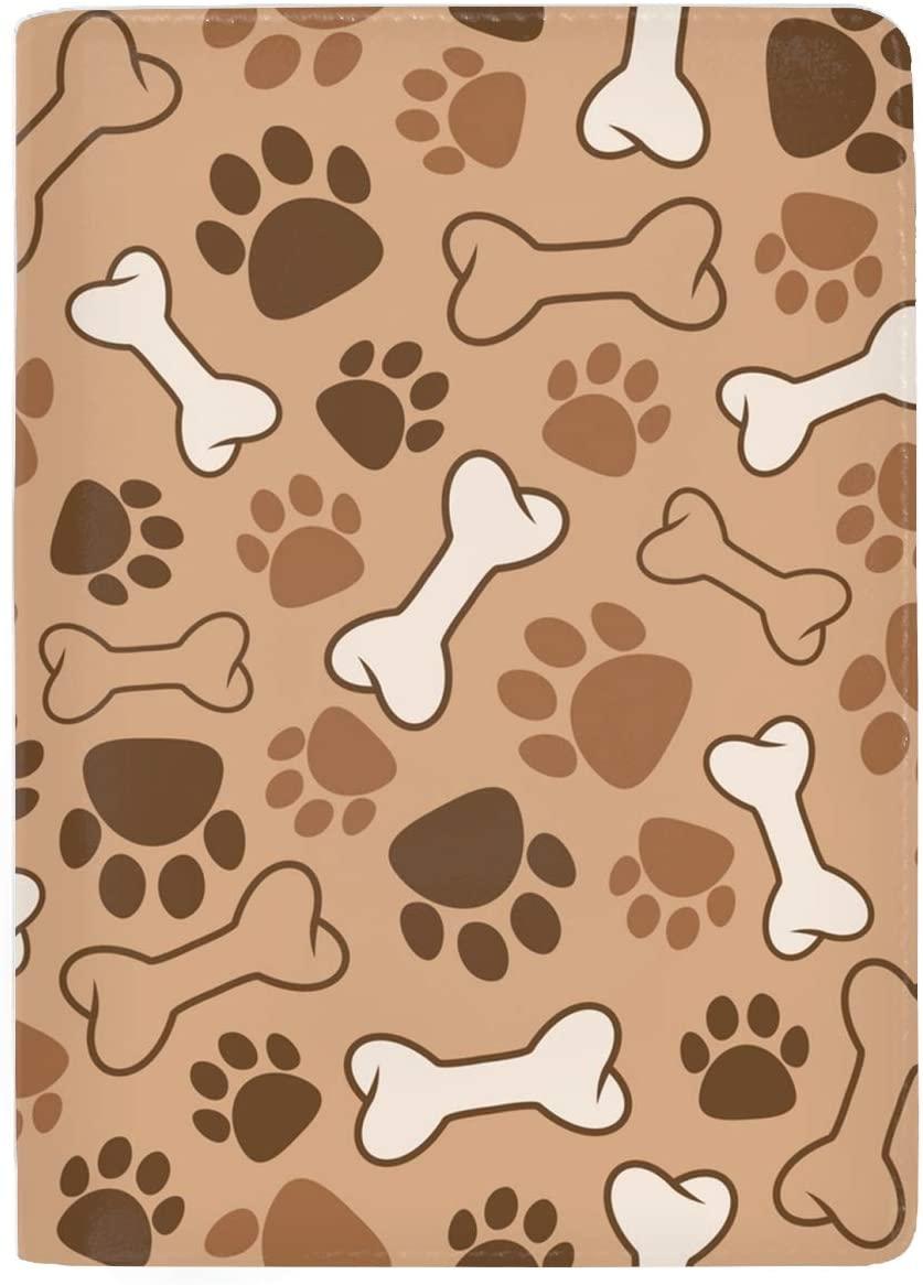 Leather Passport Cover - Passport Holder Case for Men & Women Cute Dog Pattern
