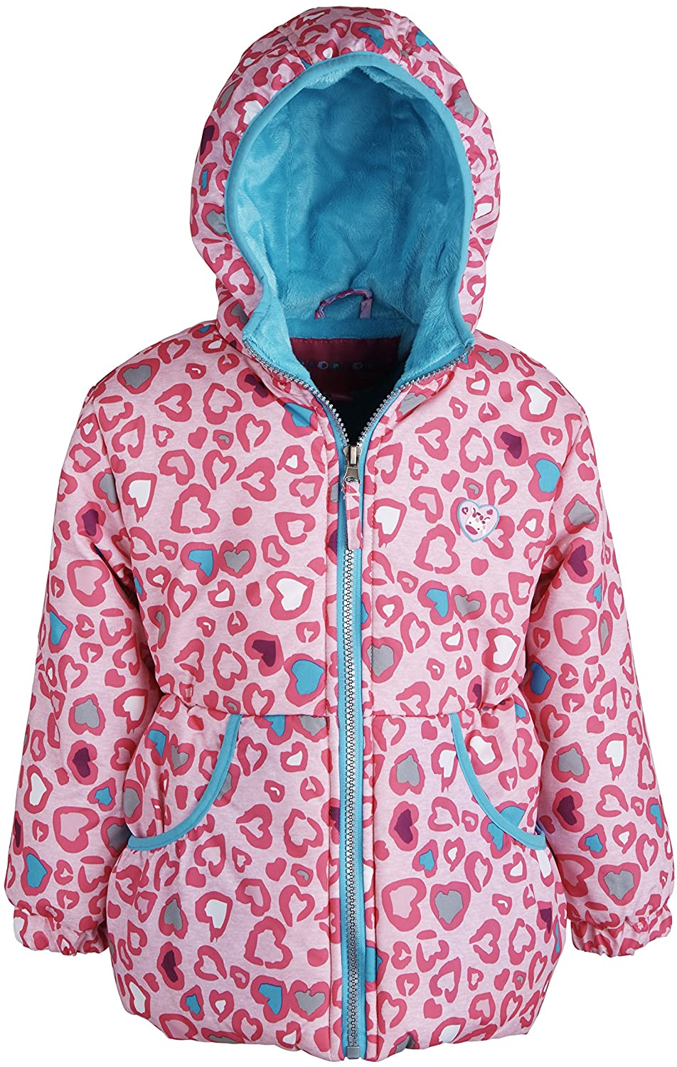 Wippette Little Girls Warm Hooded Fleece Lined Winter Puffer Bubble Jacket Coat