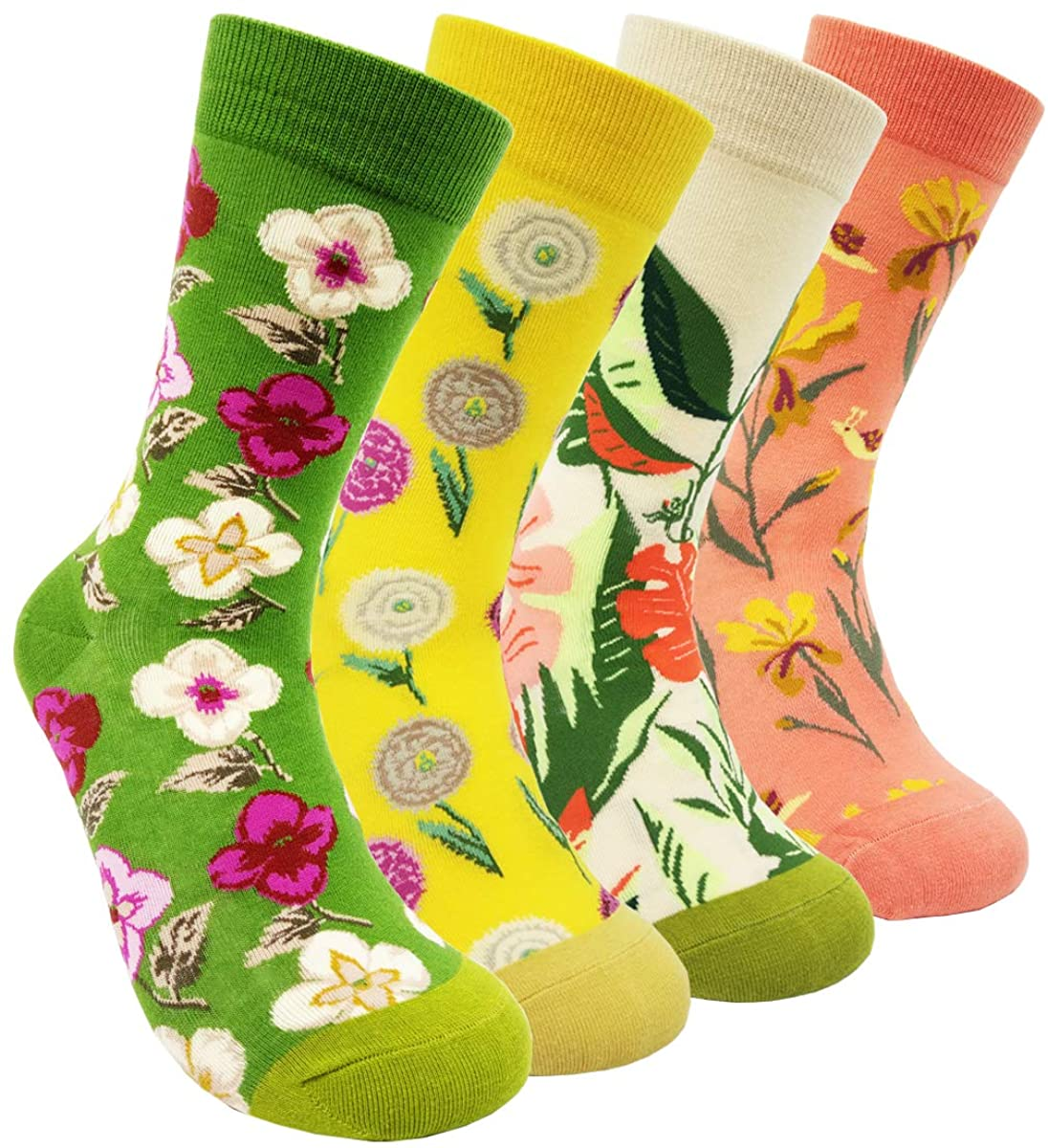 Womens Colorful Dress Crew Socks - HSELL Flower Van Gogh Funky Patterned Casual Cotton Socks