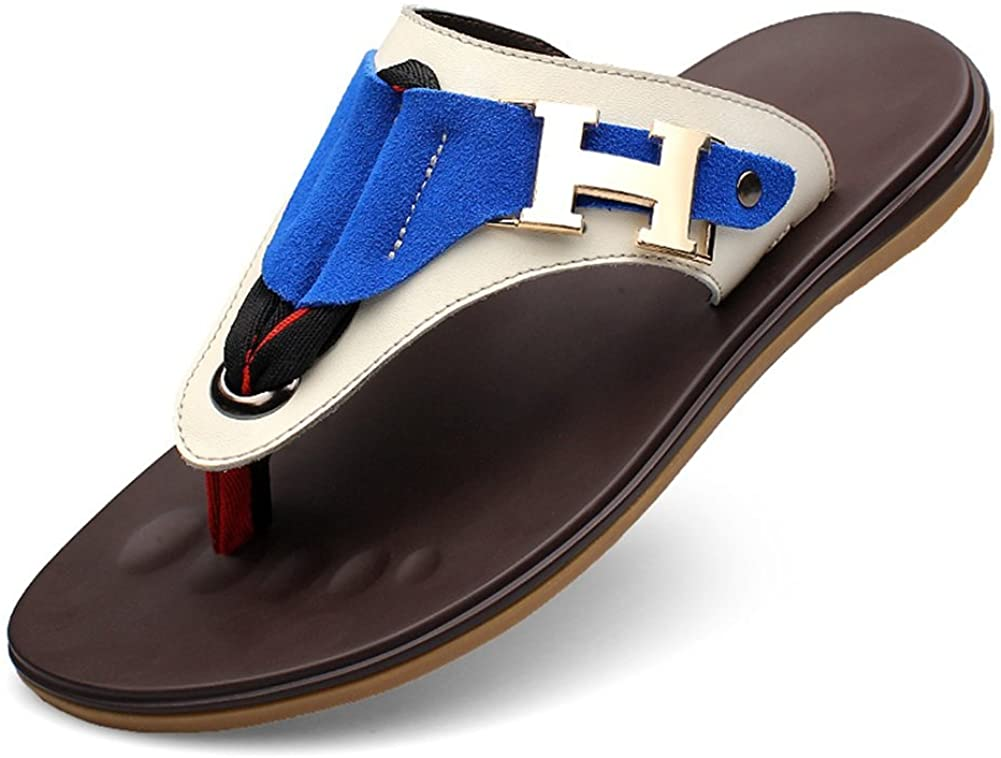HUAN Men's Shoes Leather Spring Summer Comfort Slippers & Flip-Flops for Casual Outdoor Beach Shoes Blue, Brown
