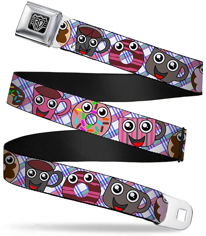 Buckle-Down Belt Seatbelt Buckle Donuts Coffee Cartoon Mens Womens Kids Adjustable