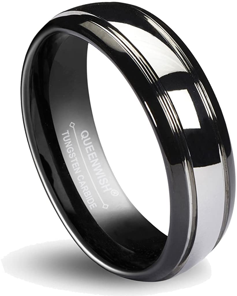 Queenwish 6/8MM Matching Tungsten Carbide Wedding Band Black Silver Dome Gunmetal Bridal Ring Men Women Jewelry