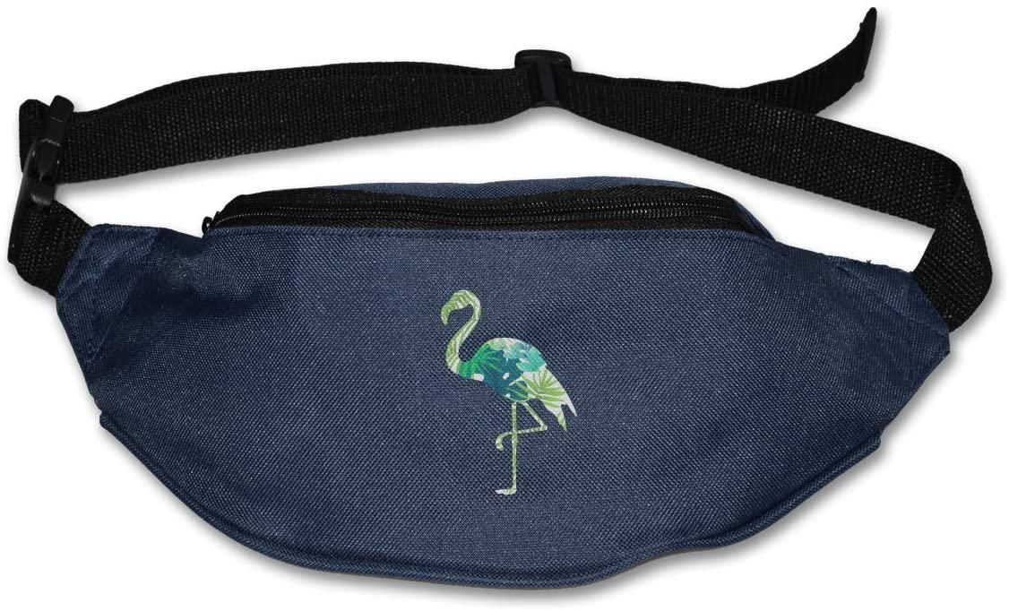 SWEET-YZ Unisex Waist Pack Tropical Leaves Flamingo Flat Fanny Bag Pack for Sport Running