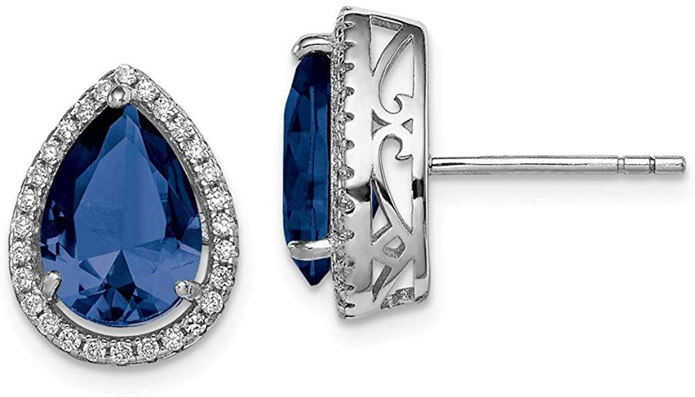 Solid 925 Sterling Silver Created Sapphire Blue September Gemstone and CZ Cubic Zirconia Post Studs Earrings - 14mm x 11mm