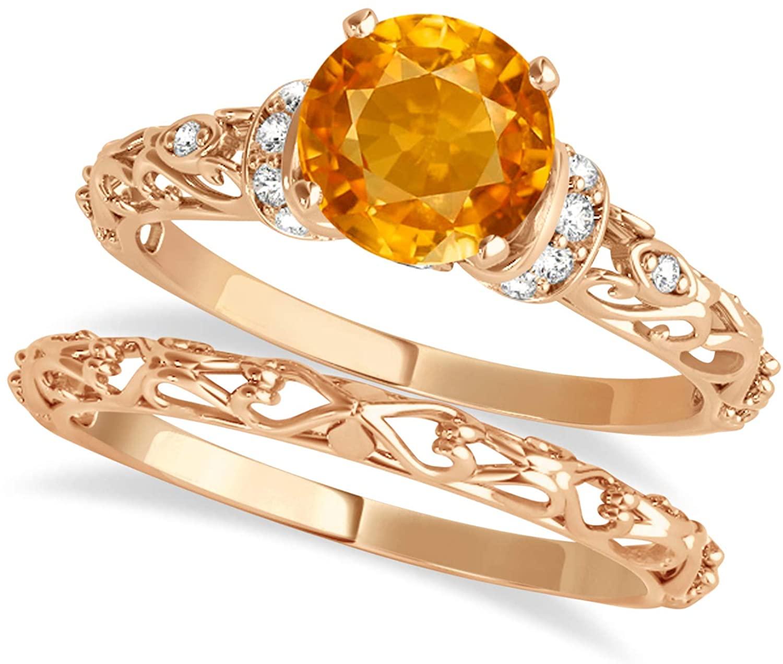 (0.87ct) 14k Rose Gold Citrine and Diamond Antique-Style Bridal Set