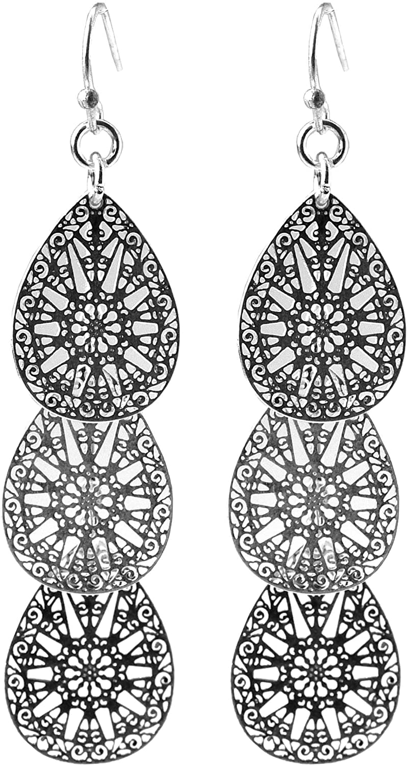 2 Inch Vintage Filigree Worn Silver Tone Teardrop Antique Sacred Geometry Flower Leaf Metal Dangle Alloy Earrings