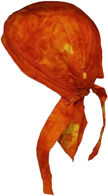 Tie Dye Skull Cap Doo Rag 60s Hippie Bandana Red-Orange Yellow