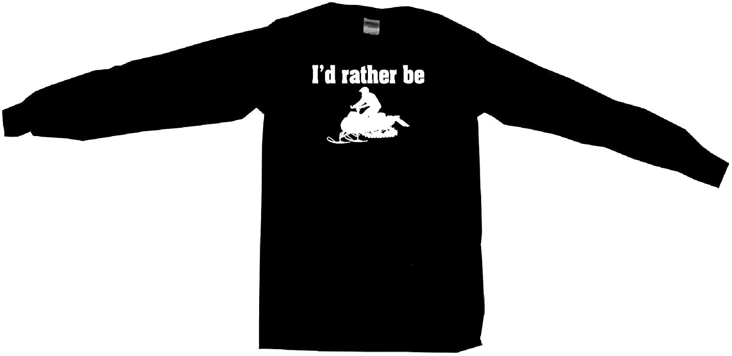 I'd Rather Be Snowmobile Rider Silhouette Men's Tee Shirt