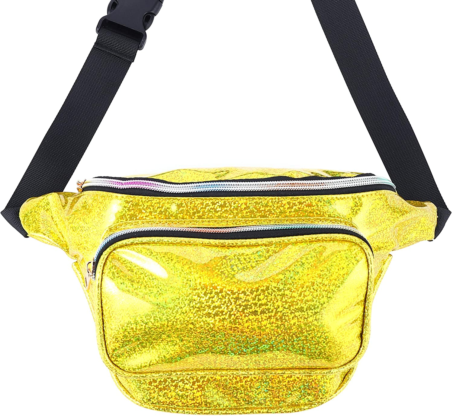 Ringnigt Holographic Fanny Pack for Women, Waterproof Starry Sky Waist Fanny Pack with Adjustable Belt for Rave, Festival, Travel, Party