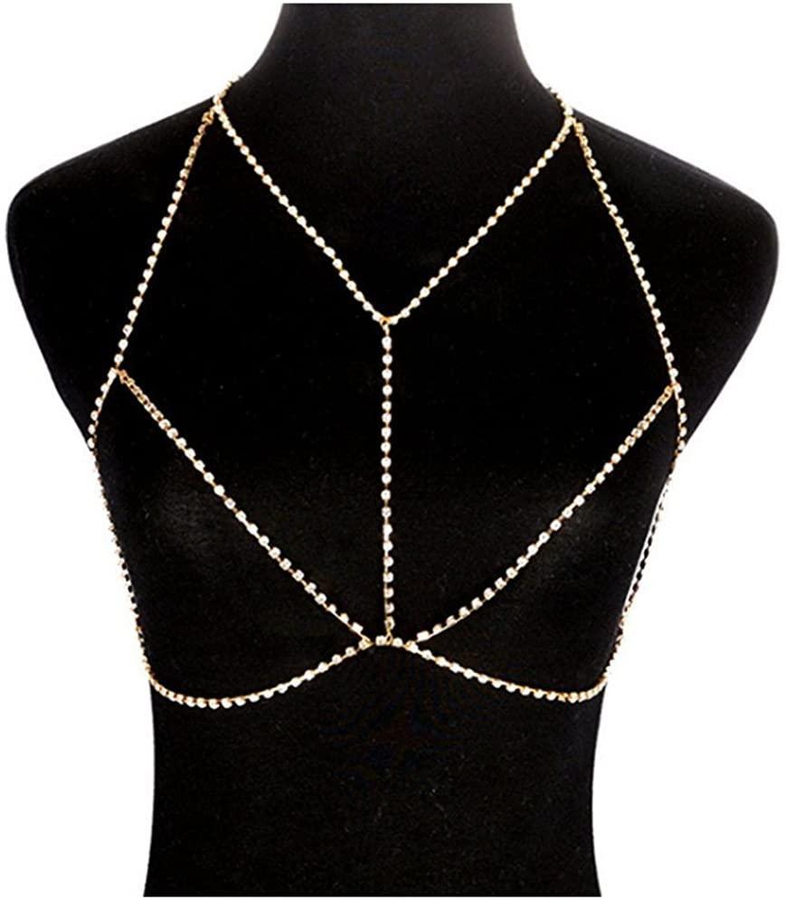 Micrkrowen Sexy Sparkling Rhinestone Necklace Claw Chain Bikini Beach Body Chains(Gold)