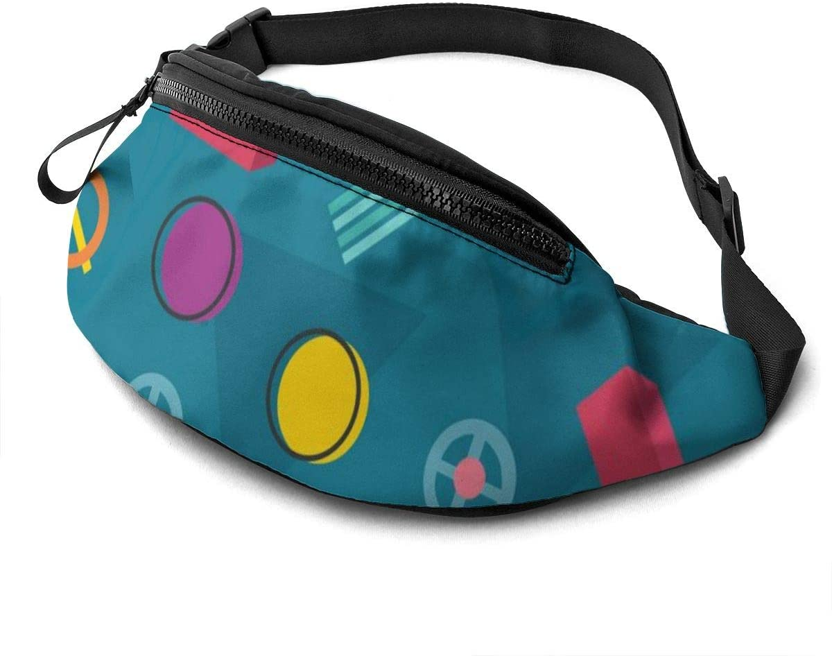 Colorful Pattern With Hand Drawn Geometric Shapes Fanny Pack For Men Women Waist Pack Bag With Headphone Jack And Zipper Pockets Adjustable Straps