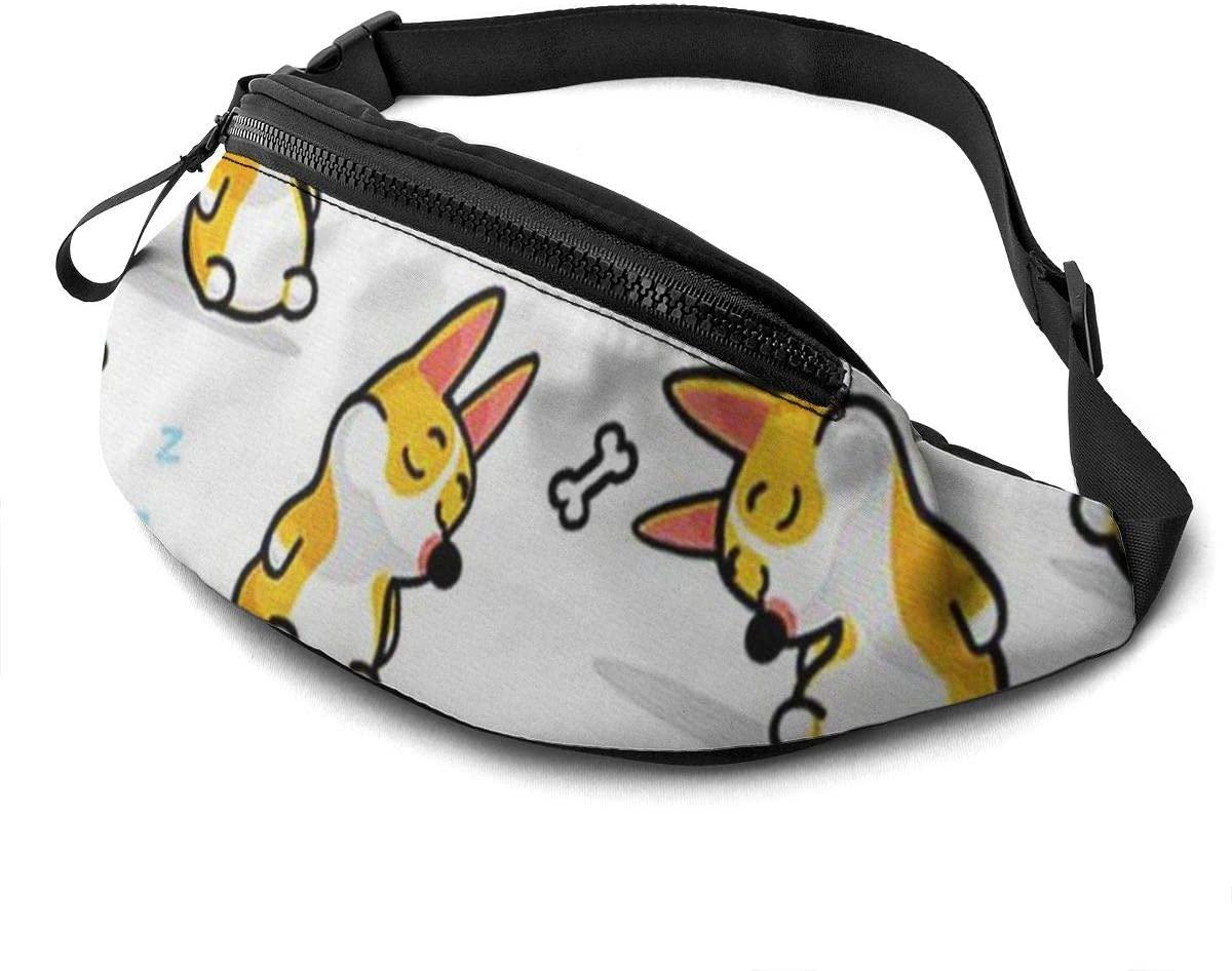 Funny Corgi Fanny Pack For Men Women Waist Pack Bag With Headphone Jack And Zipper Pockets Adjustable Straps