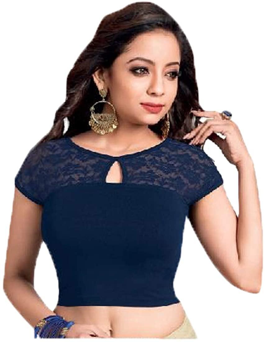 Rani Ready to wear Stretchable Lycra Ready-made Saree Blouse Sari Choli Crop Top size L 94