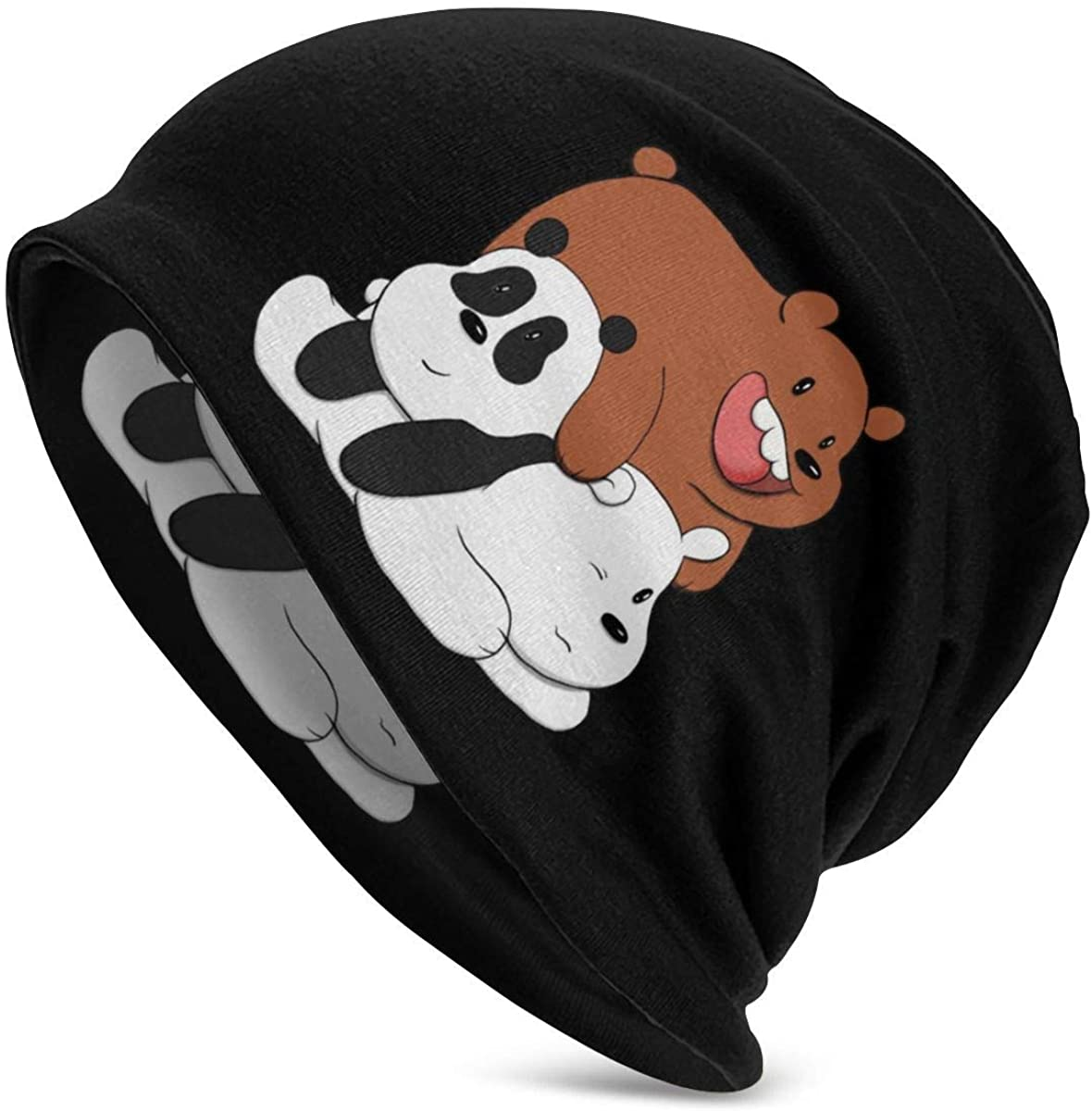 Cool We Bare Bears Thin Unisex Adult Knit Hats Beanie Hat Winter Warm Printing Cap Black