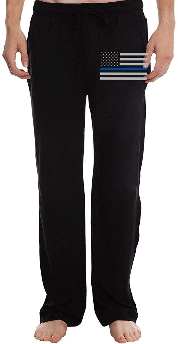 Men's Police Lives Matter Thin Blue Line Flag Jogger Sweatpants, Elastic Waist Jersey Pant with Pockets