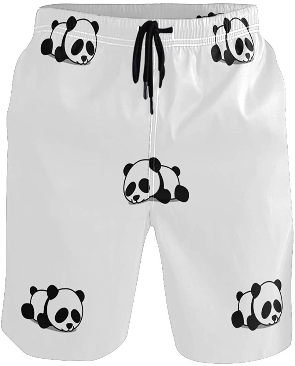 Sinestour Mens Swim Trunks Quick Dry 可愛い パンダ 睡眠 パターン Board Shorts with Pocket