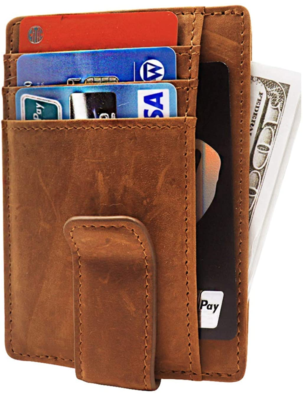 RFID Mens Slim Wallet Money Clip with ID Window for Minimalists Genuine Leather Up to 8 Card Slots