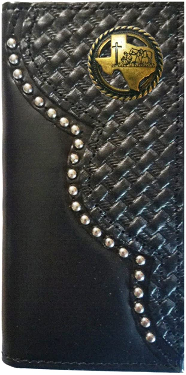 Custom Black Antique Brass Texas Praying Cowboy Church Basket Weave Long Leather Checkbook Wallet. Proudly MADE IN THE USA