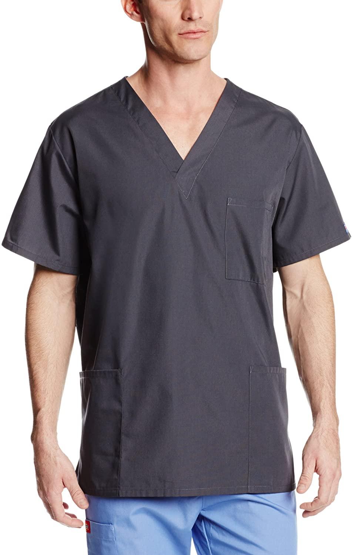 Cherokee Big and Tall Originals Unisex V-Neck Scrubs Shirt, Pewter, XX-Large