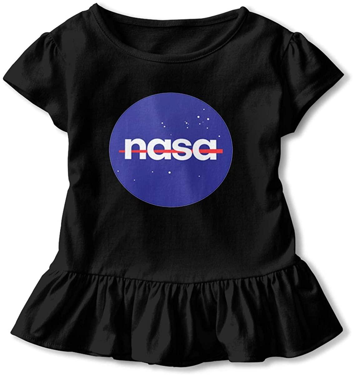 AP.Room NASA Toddler Girls Ruffle T-Shirt Short Sleeve 2-6t