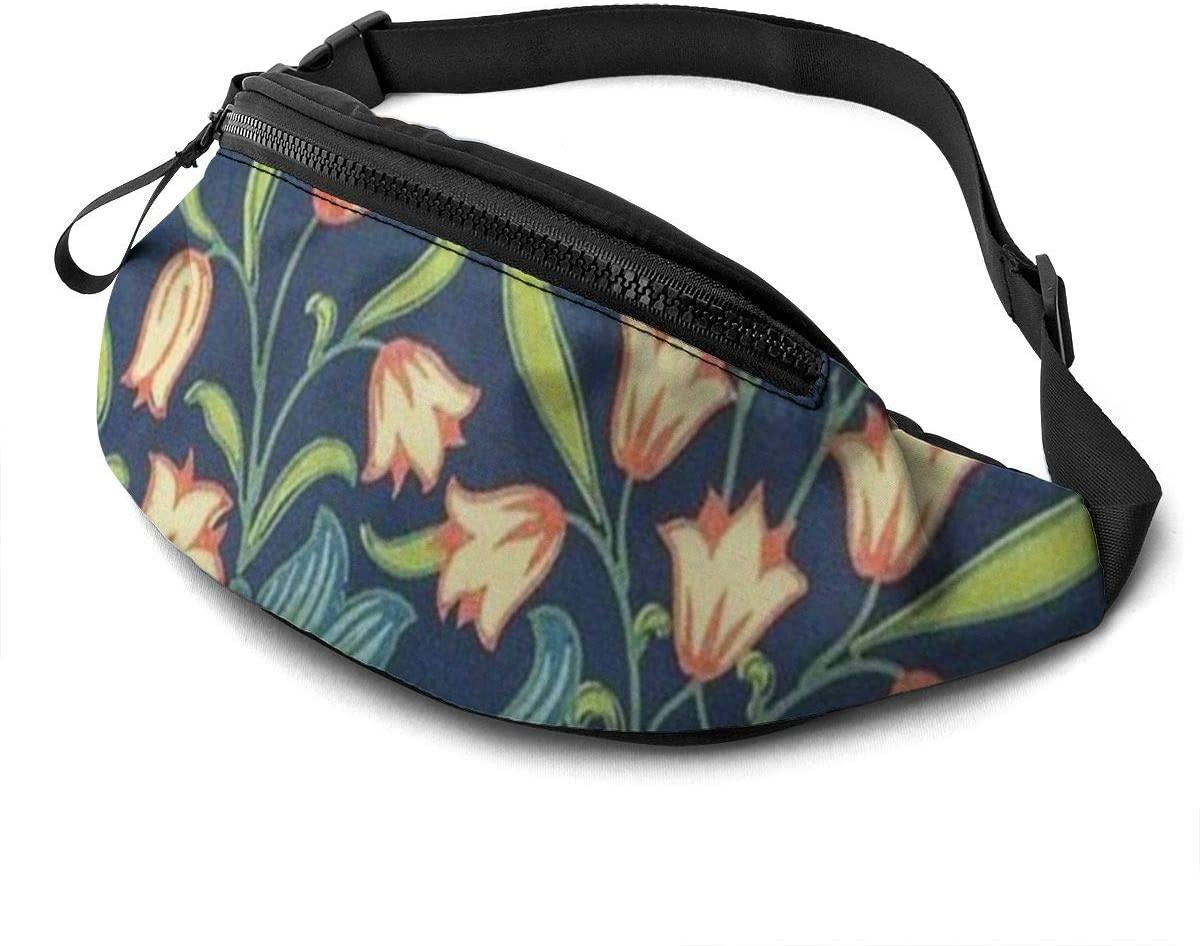 Spring Flower Fanny Pack For Men Women Waist Pack Bag With Headphone Jack And Zipper Pockets Adjustable Straps