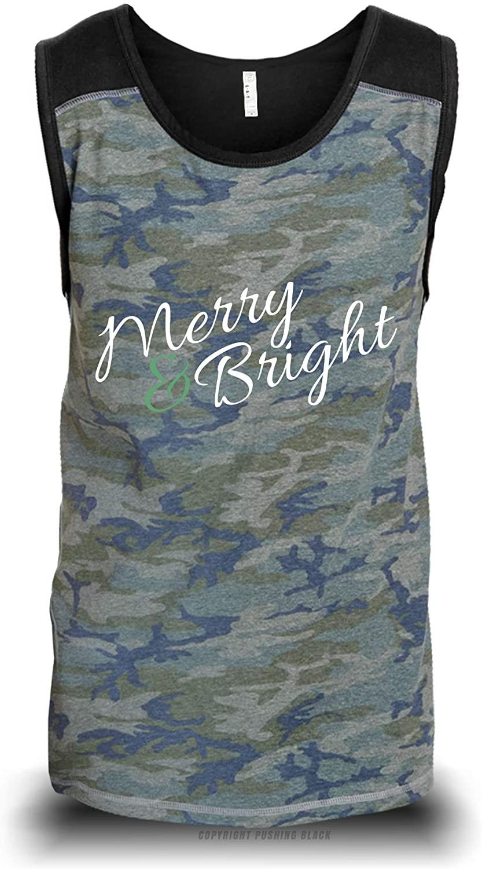 PUSHING BLACK 'Merry & Bright' Unisex Raglan Tank Top