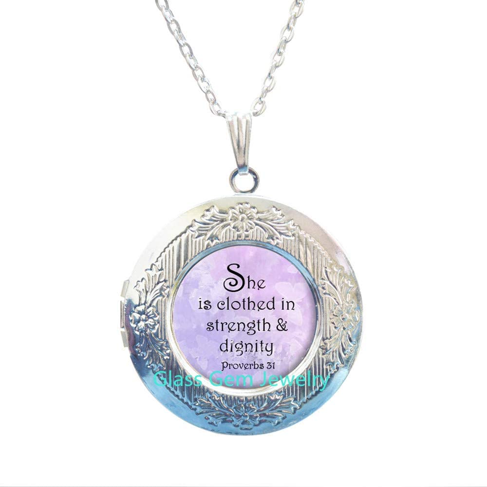 STERLING PROVERBS 31 Locket Pendant Proverbs Jewelry Bible Verse Locket Necklace Scripture Jewelry Christian Gift for Christian.XY09
