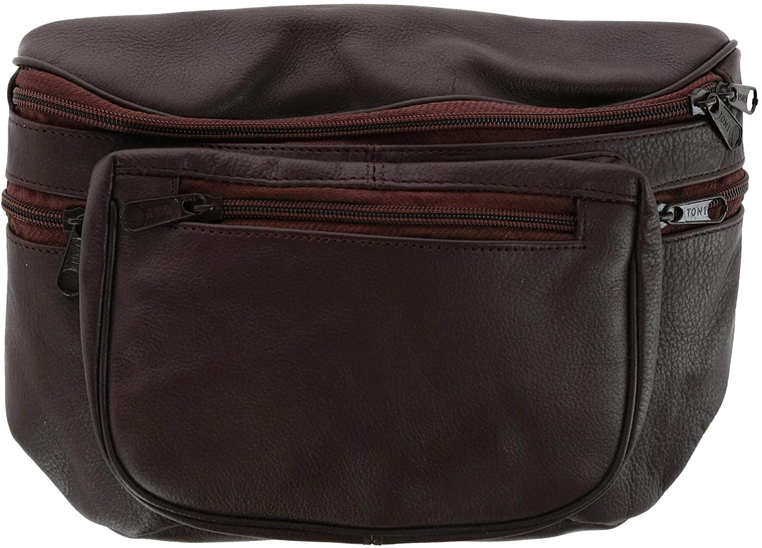 Leather Impressions Leather Large Multi Pocket Fanny Waist Pack, Brown