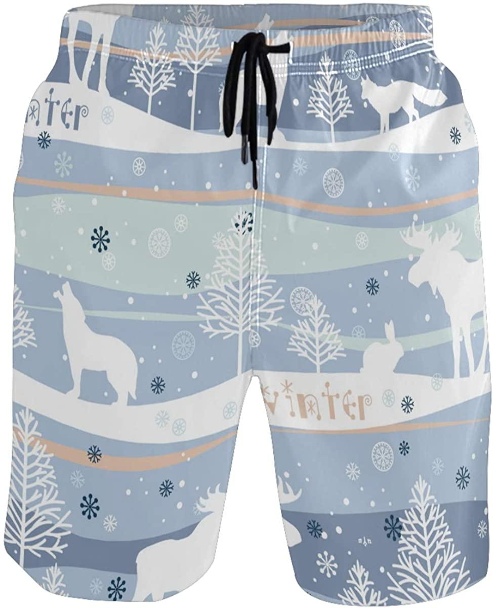 RunningBear Men's Swim Trunks - Deer Winter Snow Beach Short Men Quick Dry Bathing Suit Shorts
