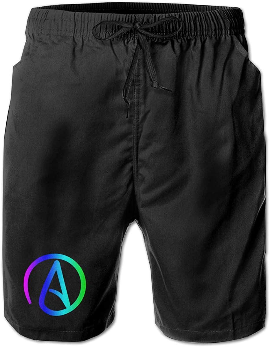 Atheist Sign Men Summer Beach Shorts,Casual Shorts Beach Shorts Quick Dry Short
