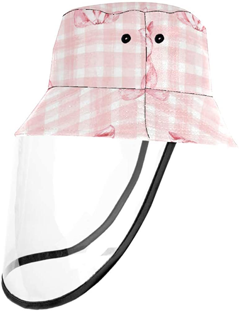 Cute Pig Checkered Background Plaid Casual Hat Fisherman Cap UV Sun Hats for Boys