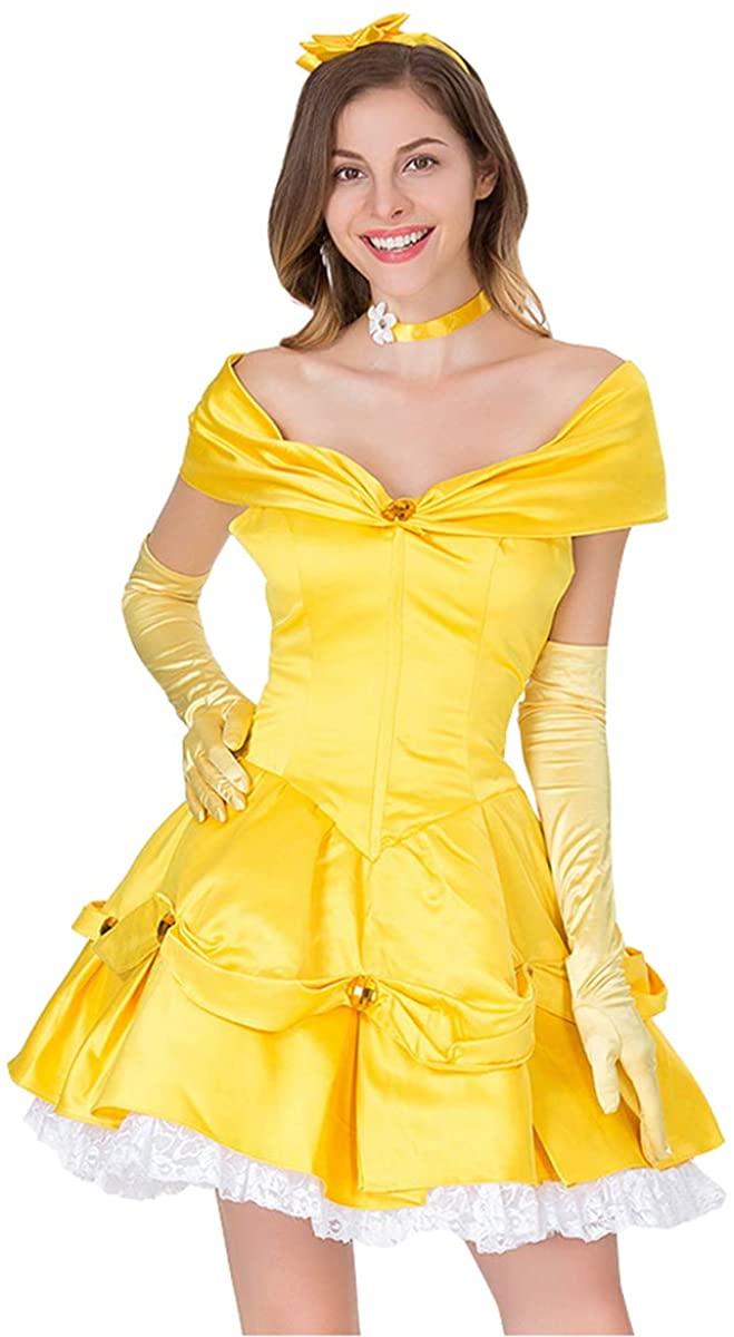 HNGHOU Women's Yellow Princess Belle Costumes Sexy Off Shoulder Princess Dress