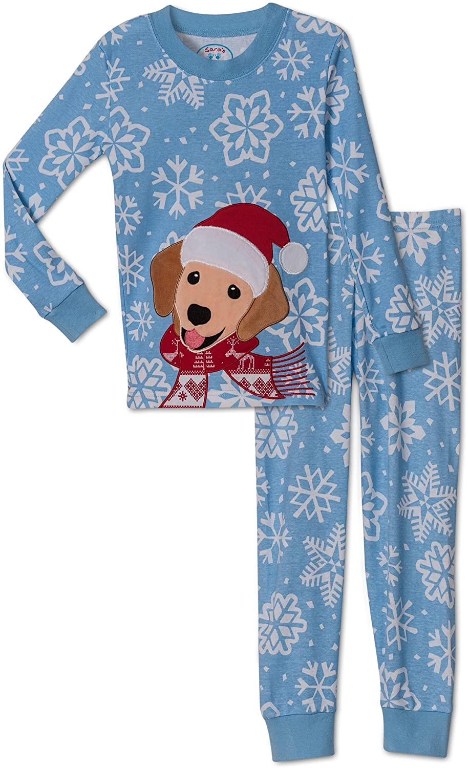 Sara's Prints Unisex Holiday Puppy 2 Piece Pajama Set, Toddlers Size 2T