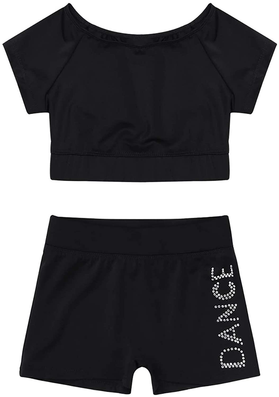 JanJean Girls 2 Piece Dance Sports Outfit Top Booty Shorts for Kids Gymnastics Leotard Dancewear Swimwear Activewear
