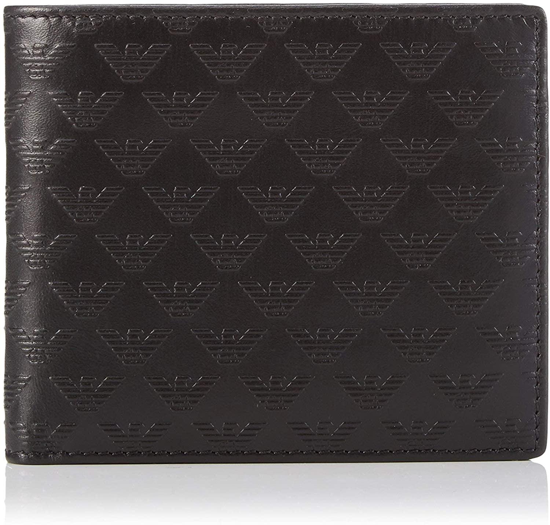 Emporio Armani Black Leather Signature Mens Bifold Wallet Coin Pocket