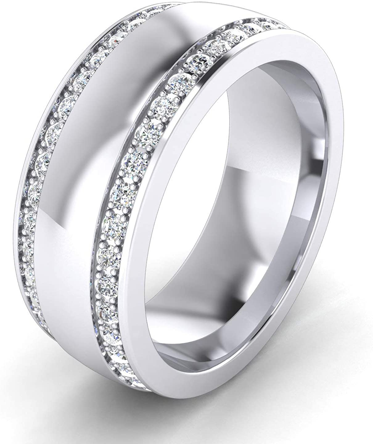 Super Heavy Sterling Silver 8mm Domed Double Row Simulated Diamond Wedding Band Full Eternity Ring