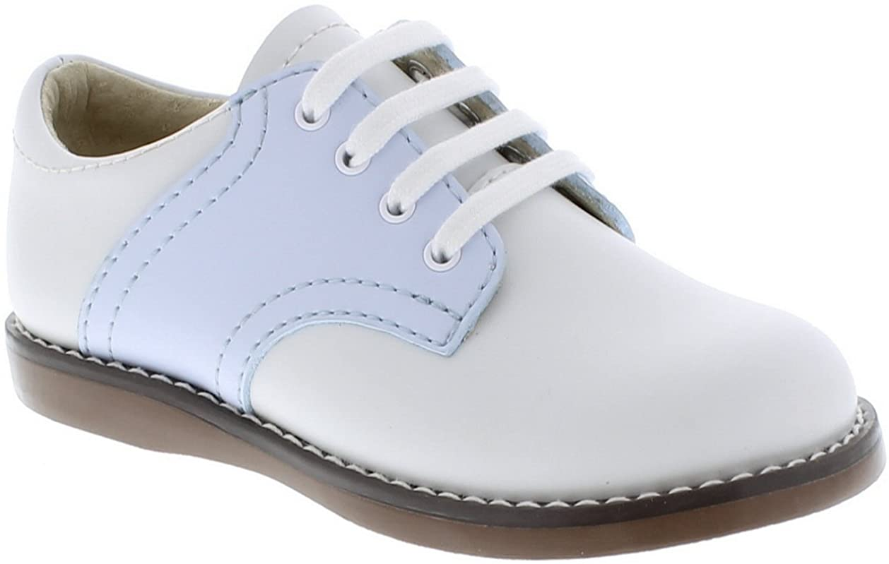 FootMates Cheer Laceup Saddle White/Light Blue - 8414/7 Toddler M/W