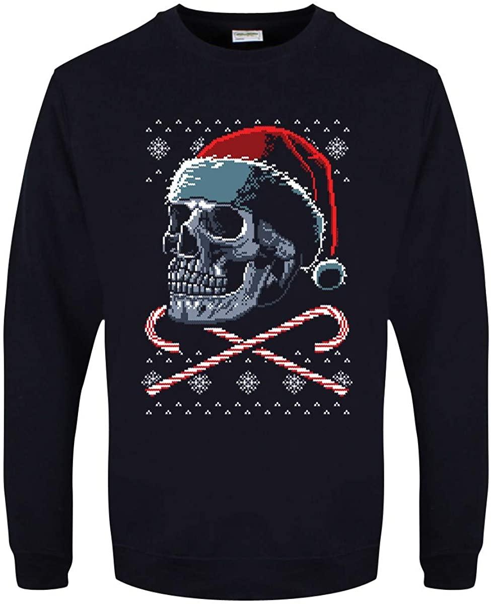 Men's Santa Crossbones Christmas Jumper Sweater Navy