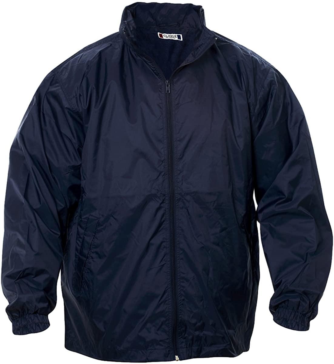 Clique Men's Hood Collar Full Zip Windbreaker Jacket, Navy, XX-Large