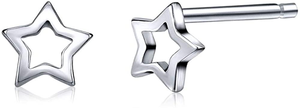 AoedeJ Star Earrings Sterling Silver Minimalist Star Stud Earrings for Women Girls Valentines Earrings