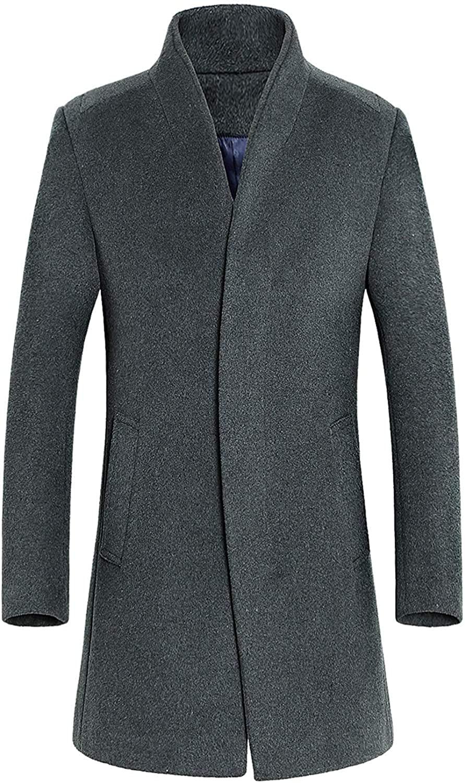 Mens Mid-Length Single Breasted Wool Blend Top Coat,D-Grey,Medium